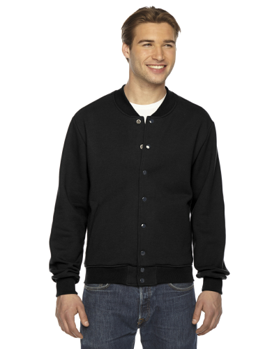 Black MADE IN USA Unisex Flex Fleece Club Jacket as seen from the front
