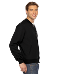 Black MADE IN USA Unisex Flex Fleece Club Jacket as seen from the sleeveleft