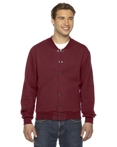 Cranberry MADE IN USA Unisex Flex Fleece Club Jacket as seen from the front