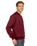 Cranberry MADE IN USA Unisex Flex Fleece Club Jacket as seen from the sleeveleft