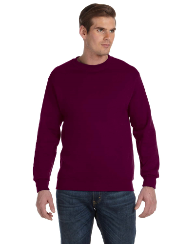 Maroon DryBlend 9.3 oz., 50/50 Fleece Crew as seen from the front