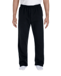 Black DryBlend 9.3 oz., 50/50 Open-Bottom Sweatpants as seen from the front
