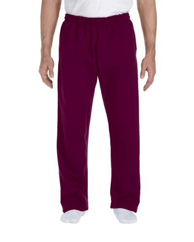 Maroon DryBlend 9.3 oz., 50/50 Open-Bottom Sweatpants as seen from the front