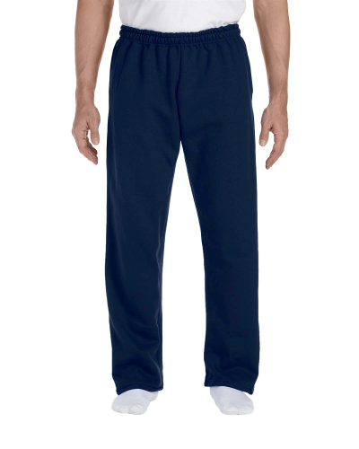 Navy DryBlend 9.3 oz., 50/50 Open-Bottom Sweatpants as seen from the front