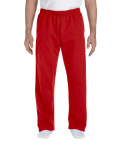 Red DryBlend 9.3 oz., 50/50 Open-Bottom Sweatpants as seen from the front