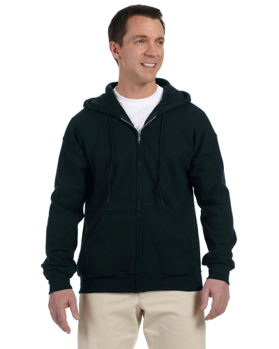 Black DryBlend™ 9.3 oz., 50/50 Full-Zip Hood as seen from the front