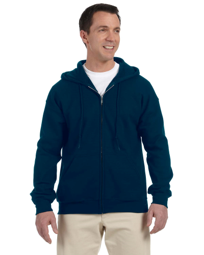 Navy DryBlend™ 9.3 oz., 50/50 Full-Zip Hood as seen from the front