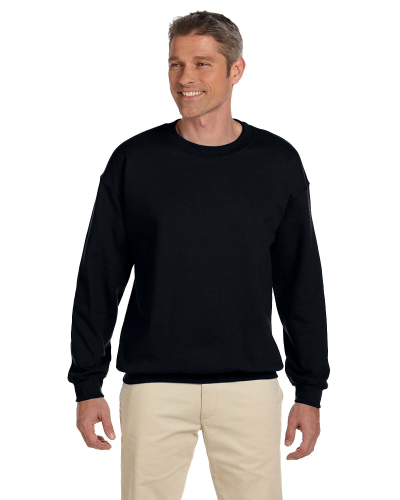 Black 7.75 oz. Heavy Blend™ 50/50 Fleece Crew as seen from the front