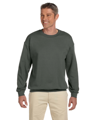 Military Green 7.75 oz. Heavy Blend™ 50/50 Fleece Crew as seen from the front