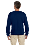 Navy 7.75 oz. Heavy Blend™ 50/50 Fleece Crew as seen from the back