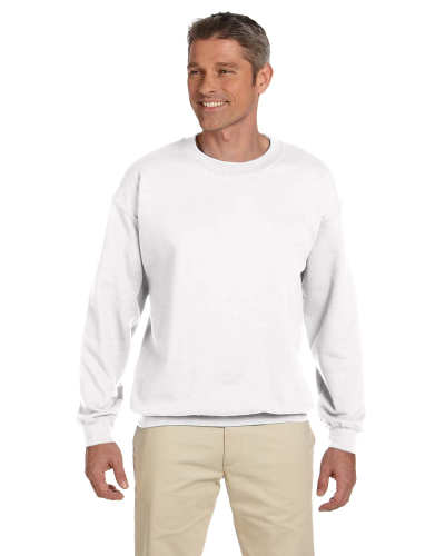White 7.75 oz. Heavy Blend™ 50/50 Fleece Crew as seen from the front