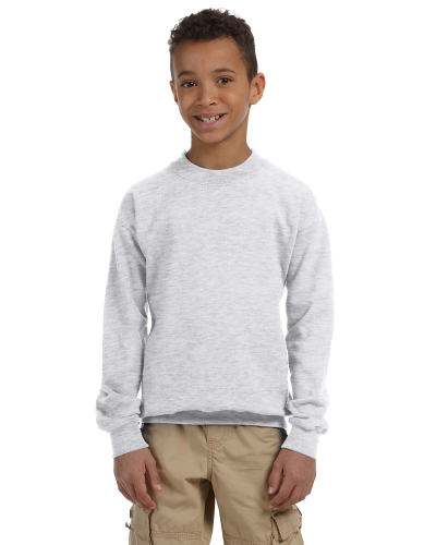 Ash Youth 8 oz. Heavy Blend 50/50 Fleece Crew as seen from the front