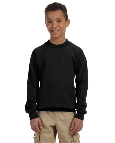 Black Youth 8 oz. Heavy Blend 50/50 Fleece Crew as seen from the front