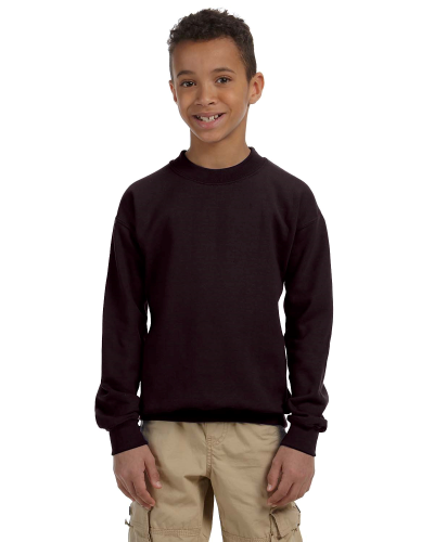 Dark Chocolate Youth 8 oz. Heavy Blend 50/50 Fleece Crew as seen from the front