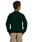 Forest Green Youth 8 oz. Heavy Blend 50/50 Fleece Crew as seen from the back