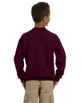 Maroon Youth 8 oz. Heavy Blend 50/50 Fleece Crew as seen from the back
