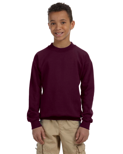Maroon Youth 8 oz. Heavy Blend 50/50 Fleece Crew as seen from the front
