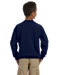 Navy Youth 8 oz. Heavy Blend 50/50 Fleece Crew as seen from the back