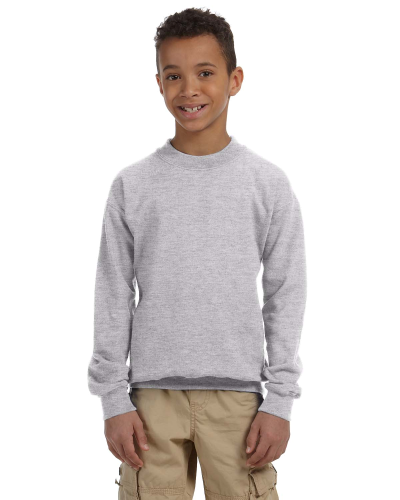 Sport Grey Youth 8 oz. Heavy Blend 50/50 Fleece Crew as seen from the front