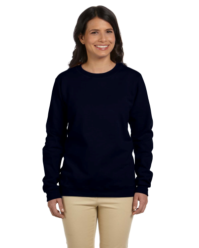 Black Heavy Blend™ Ladies' 8 oz., 50/50 Fleece Crew as seen from the front
