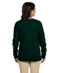 Forest Green Heavy Blend™ Ladies' 8 oz., 50/50 Fleece Crew as seen from the back