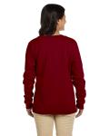 Garnet Heavy Blend™ Ladies' 8 oz., 50/50 Fleece Crew as seen from the back