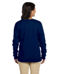 Navy Heavy Blend™ Ladies' 8 oz., 50/50 Fleece Crew as seen from the back