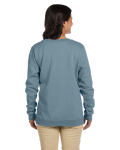 Stone Blue Heavy Blend™ Ladies' 8 oz., 50/50 Fleece Crew as seen from the back