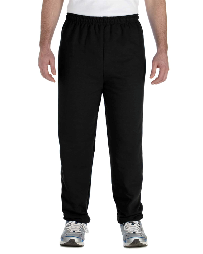 Black Heavy Blend 8 oz., 50/50 Sweatpants as seen from the front