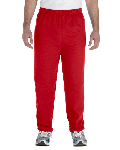 Red Heavy Blend 8 oz., 50/50 Sweatpants as seen from the front