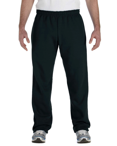 Black Heavy Blend™ 8 oz., 50/50 Open-Bottom Sweatpants as seen from the front