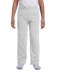 Ash Grey Heavy Blend™ Youth 8 oz., 50/50 Open-Bottom Sweatpants as seen from the front
