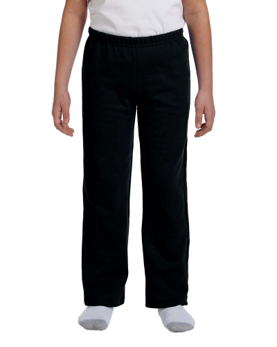 Black Heavy Blend™ Youth 8 oz., 50/50 Open-Bottom Sweatpants as seen from the front