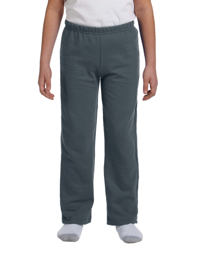 Dark Heather Heavy Blend™ Youth 8 oz., 50/50 Open-Bottom Sweatpants as seen from the front
