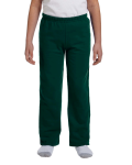 Forest Green Heavy Blend™ Youth 8 oz., 50/50 Open-Bottom Sweatpants as seen from the front
