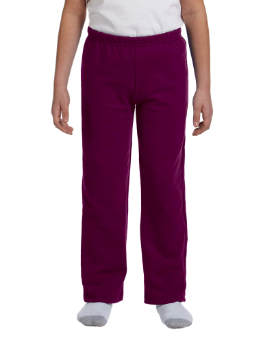 Maroon Heavy Blend™ Youth 8 oz., 50/50 Open-Bottom Sweatpants as seen from the front