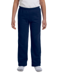Navy Heavy Blend™ Youth 8 oz., 50/50 Open-Bottom Sweatpants as seen from the front
