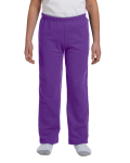 Purple Heavy Blend™ Youth 8 oz., 50/50 Open-Bottom Sweatpants as seen from the front
