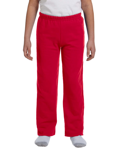 Red Heavy Blend™ Youth 8 oz., 50/50 Open-Bottom Sweatpants as seen from the front