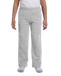 Sport Grey Heavy Blend™ Youth 8 oz., 50/50 Open-Bottom Sweatpants as seen from the front