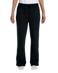 Black Heavy Blend™ Ladies' 8 oz., 50/50 Open-Bottom Sweatpants as seen from the front