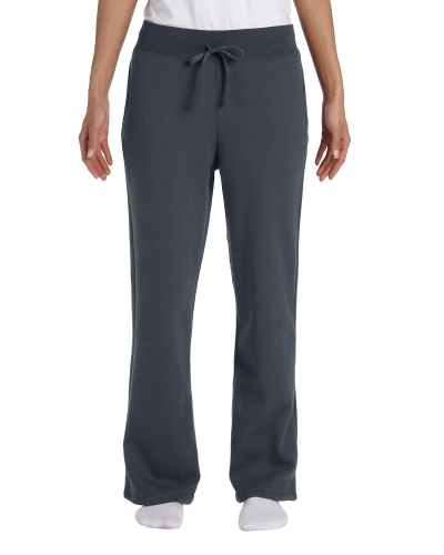 Charcoal Heavy Blend™ Ladies' 8 oz., 50/50 Open-Bottom Sweatpants as seen from the front
