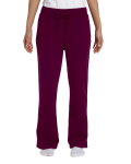 Maroon Heavy Blend™ Ladies' 8 oz., 50/50 Open-Bottom Sweatpants as seen from the front