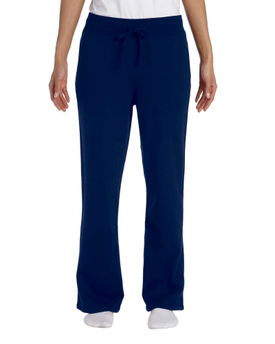 Navy Heavy Blend™ Ladies' 8 oz., 50/50 Open-Bottom Sweatpants as seen from the front