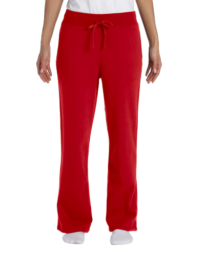 Red Heavy Blend™ Ladies' 8 oz., 50/50 Open-Bottom Sweatpants as seen from the front