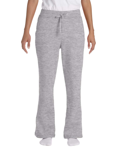 Sport Grey Heavy Blend™ Ladies' 8 oz., 50/50 Open-Bottom Sweatpants as seen from the front