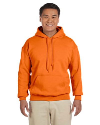 Safety Orange 8 oz. Heavy Blend 50/50 Hood as seen from the front