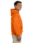 Safety Orange 8 oz. Heavy Blend 50/50 Hood as seen from the sleeveleft
