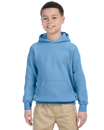 Carolina Blue Youth 8 oz. Heavy Blend 50/50 Hood as seen from the front