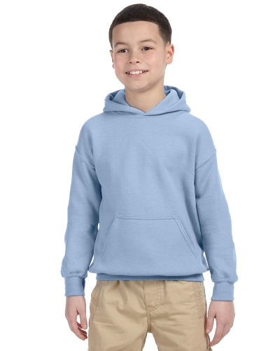 Light Blue Youth 8 oz. Heavy Blend 50/50 Hood as seen from the front